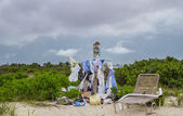 Beach scarecrow — Stock Photo