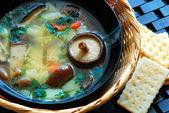 Shiitake mushroom soup — Stock Photo