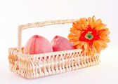 Peaches in the basket. — Stock Photo