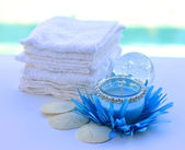 Candle decoration towel spa salon. — Foto Stock