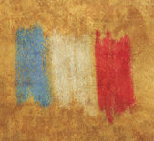 Flag of France vintage retro style natural canvas background — Stock Photo