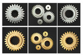 Gear chrome gold black background — Stock Photo