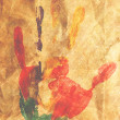 Stock Photo: Handprint colored inks