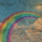 Vintage photos rainbow blue summer sky — Stock Photo #22058811