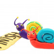 Competition plasticine funny colored snail one winner — Stock Photo #22297931