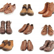 Collection of leather shoes for men and women - Stock Photo