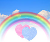 Paper hearts rainbow blue summer sky — Stock Photo