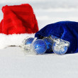 Santa Claus hat with Christmas balls — Stock Photo