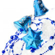Colorful blue christmas decoration baubles — Stock Photo