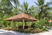 Gazebo in tropical park — Stock Photo