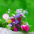 Bright colorful bouquet of wild flowers — Stock Photo