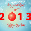 2013 happy new year illustration - light blue background — Stock Photo