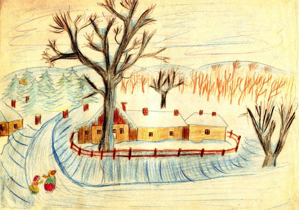 农村冬天场面-旧手绘图图片