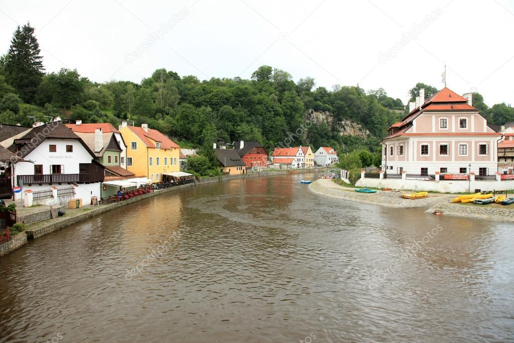 Vltava River - Cesky Krumlov a  historic town in Czech Republic — Stock Photo #12340679