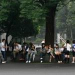 School Kids Studying - Ueno Park,Tokyo, Japan — Stock Photo #12467118