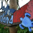 Tropical Island Sign - Taketomi Island , Okinawa, Japan - Stock Photo