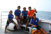 Japanese Boat Crew - Nagannu Island , Okinawa, South Japan — Stock Photo