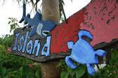 Tropical Island Sign - Taketomi Island , Okinawa, Japan — Stock Photo
