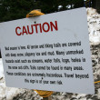 Warning Sign - Mt Roberts, Alaska, USA — Stock Photo