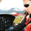 Helicopter Cockpit at Mendenhall Glacier, Alaska, USA — Foto de Stock