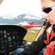 Helicopter Cockpit at Mendenhall Glacier, Alaska, USA — Stock Photo #12899279