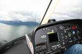 Helicopter Cockpit at Mendenhall Glacier, Alaska, USA — Stock Photo