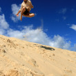 Jumping into Air - Fraser Island, UNESCO, Australia — Stock Photo