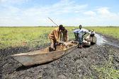 Galleggianti pesca villaggio - uganda, africa — Foto Stock