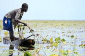 Flutuante pesca vila - uganda, áfrica — Foto Stock