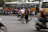Crossing The Busy Streets of Hanoi, Vietnam — Stock Photo