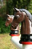 Estátua de cavalo - parque de stanley, vancouver, bc, canadá — Foto Stock