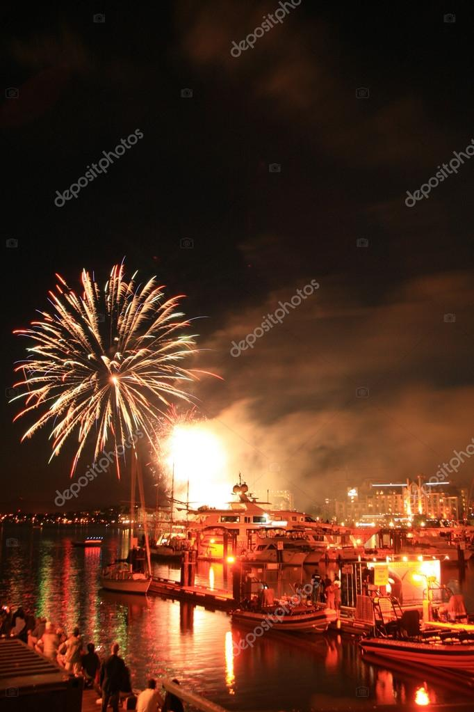 Fireworks Display in Victoria Harbour, BC, Canada  Stock Photo #14388621