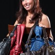 Beautiful Young Woman - With Expensive Bag — Stok fotoğraf
