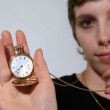 Girl Holding Old Fashioned Pocket Watch — Stock Photo #19612405