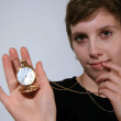 Girl Holding Old Fashioned Pocket Watch — Stock Photo #19612409