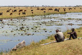 African people at Chobe River — Stock Photo