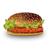 Graphic illustration of an juicy hamburger — Stock Vector