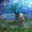 Stone angel with wings sitting on mossy grass in fantasy landscape — Foto de stock #13423387