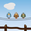 Royalty-Free Stock Imagen vectorial: Graphic illustration of cute and lovely birds relaxing outdoors