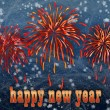 Background with firework and happy new year greeting — Stok fotoğraf