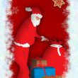 Santa Claus with a big red sack full of gifts — Stock Photo
