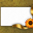 Foto Stock: Greeting card for invitation with flower and golden bow