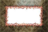 кадр процветать над барокко гранж-фон — Стоковое фото