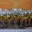Rows of champagne flutes — Foto de Stock
