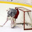 The Hockey Goalie of Russia team in deffence scene — Stock Photo