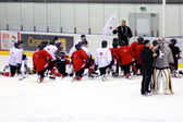 Switzerland hockey team on ice at practice — Stock Photo