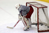 Hockey goalie during practice — Stock Photo