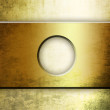 Metallic plate with hole in the middle over grunge background — ストック写真