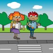 Graphic illustration of kids in front of pedestrian crossing — Stok Vektör