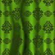 Green curtain with patterned model over — Stock Vector